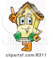 Clipart Picture Of A House Mascot Cartoon Character Pointing Upwards