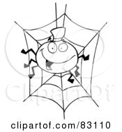 Royalty Free RF Clipart Illustration Of An Outlined Spider In Web by Hit Toon