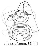 Royalty Free RF Clipart Illustration Of An Outlined Cat In Pumpkin