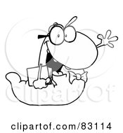Royalty Free RF Clipart Illustration Of An Outlined Worm Carrying A Book