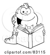 Royalty Free RF Clipart Illustration Of An Outlined Reading Worm