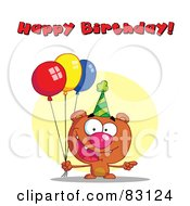 Royalty Free RF Clipart Illustration Of A Happy Birthday Greeting Over A Bear With Balloons