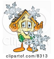 Clipart Picture Of A House Mascot Cartoon Character With Three Snowflakes In Winter