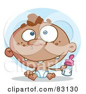 Royalty Free RF Clipart Illustration Of A Black Baby In A Diaper Holding A Bottle