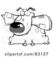 Royalty Free RF Clipart Illustration Of An Outlined Dog With Newspaper
