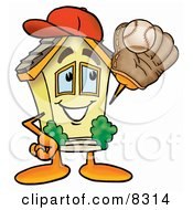 Clipart Picture Of A House Mascot Cartoon Character Catching A Baseball With A Glove