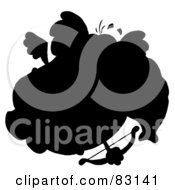 Royalty Free RF Clipart Illustration Of A Solid Black Silhouette Of An Elephant Cupid