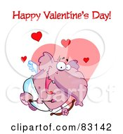 Royalty Free RF Clipart Illustration Of A Happy Valentines Day Greeting Over A Cupid Elephant