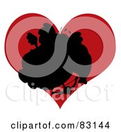 Royalty Free RF Clipart Illustration Of A Black Silhouette Of An Elephant Cupid In Front Of A Red Heart