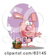 Royalty Free RF Clipart Illustration Of A Waving Pink Rabbit With Easter Eggs And Basket by Hit Toon