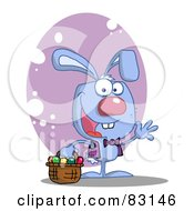 Royalty Free RF Clipart Illustration Of A Waving Blue Rabbit With Easter Eggs And Basket