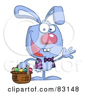 Royalty Free RF Clipart Illustration Of A Waving Blue Bunny With Easter Eggs And Basket
