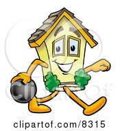 Clipart Picture Of A House Mascot Cartoon Character Holding A Bowling Ball