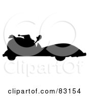 Royalty Free RF Clipart Illustration Of A Solid Black Silhouette Of Santa Driving A Convertible