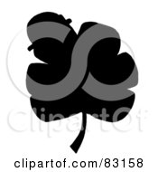 Royalty Free RF Clipart Illustration Of A Solid Black Silhouette Of A Clover With A Hat