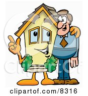 Clipart Picture Of A House Mascot Cartoon Character Talking To A Business Man
