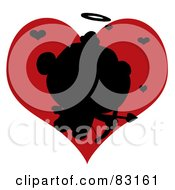 Royalty Free RF Clipart Illustration Of A Black Silhouette Of Cupid In Front Of A Red Heart
