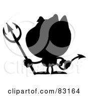 Royalty Free RF Clipart Illustration Of A Solid Black Silhouette Of A Devil