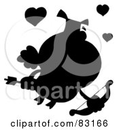 Royalty Free RF Clipart Illustration Of A Solid Black Silhouette Of A Pig Cupid