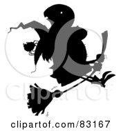 Royalty Free RF Clipart Illustration Of A Solid Black Silhouette Of A Flying Witch And Spider by Hit Toon