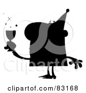 Royalty Free RF Clipart Illustration Of A Solid Black Silhouette Of A Drunk Party Man