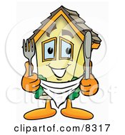 Clipart Picture Of A House Mascot Cartoon Character Holding A Knife And Fork