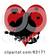 Royalty Free RF Clipart Illustration Of A Black Silhouette Of A Pig Cupid In Front Of A Red Heart