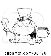 Royalty Free RF Clipart Illustration Of An Outlined Leprechaun Toad
