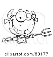 Royalty Free RF Clipart Illustration Of An Outlined Grinning Devil