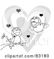 Royalty Free RF Clipart Illustration Of An Outlined Pair Of Love Birds