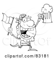 Royalty Free RF Clipart Illustration Of An Outlined Drinking Leprechaun