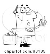 Royalty Free RF Clipart Illustration Of An Outlined Businessman With Cell Phone