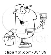 Royalty Free RF Clipart Illustration Of An Outlined House Painter by Hit Toon