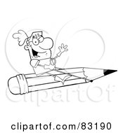 Royalty Free RF Clipart Illustration Of An Outlined Knight On A Pencil