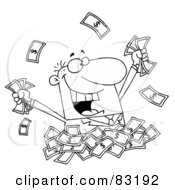 Royalty Free RF Clipart Illustration Of An Outlined Man In A Pile Of Money
