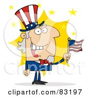 Cheery Uncle Sam In Front Of A Star