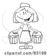 Royalty Free RF Clipart Illustration Of An Outlined Maid With Milk