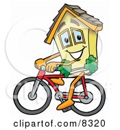 Clipart Picture Of A House Mascot Cartoon Character Riding A Bicycle