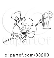 Royalty Free RF Clipart Illustration Of An Outlined Clover Holding Beer