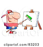 Young Man Using A Roller Brush To Paint A Canvas