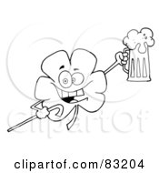Royalty Free RF Clipart Illustration Of An Outlined Drunk Clover