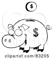 Royalty Free RF Clipart Illustration Of An Outlined Coin And Piggy Bank
