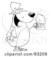 Royalty Free RF Clipart Illustration Of An Outlined Oktoberfest Drinking Bear