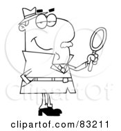 Royalty Free RF Clipart Illustration Of An Outlined Male Detective by Hit Toon