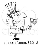 Royalty Free RF Clipart Illustration Of An Outlined Cheery Uncle Sam