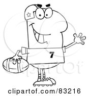 Royalty Free RF Clipart Illustration Of An Outlined Footballer by Hit Toon