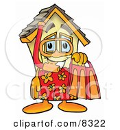 Clipart Picture Of A House Mascot Cartoon Character In Orange And Red Snorkel Gear by Toons4Biz