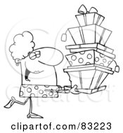 Royalty Free RF Clipart Illustration Of An Outlined Shopper Lady