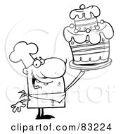 Royalty Free RF Clipart Illustration Of An Outlined Cake Chef