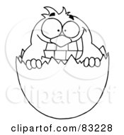 Royalty Free RF Clipart Illustration Of An Outlined Chick In Egg Shell